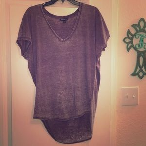 Lavender distressed v-neck